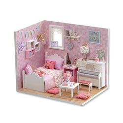 [adico]DIY 미니어처 하우스 - 큐트 핑크하우스