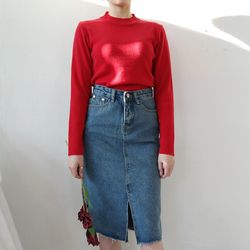 Vintage slit denim skirt