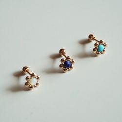 14k gold gem flower piercing