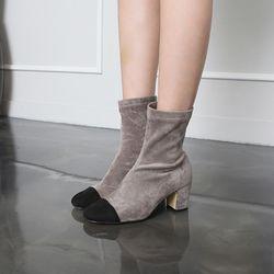 [쿠루] 여성 6cm 배색 스판 스웨이드 앵클부츠 G6515