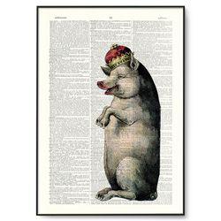 왕관을 쓴 돼지 그림 딕셔너리 아트. A3 DA001