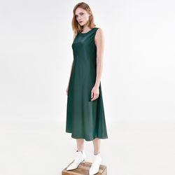 사틴 플루이드 드레스 그린