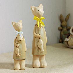(khan008)14004 도자기 고양이 장식소품 (베이지)