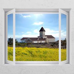 cj837-유채꽃과교회풍경창문그림액자
