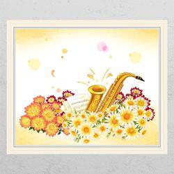 cj840-꽃밭의색소폰창문그림액자