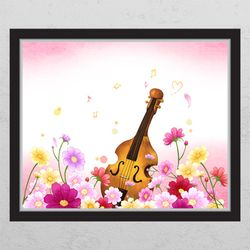 cj841-꽃밭의바이올린창문그림액자