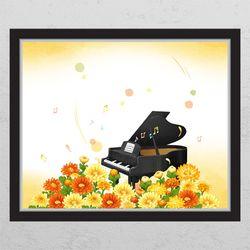 cj842-꽃밭의피아노창문그림액자