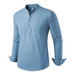 [모니즈] 헨리넥 스판 데님셔츠 SHT771