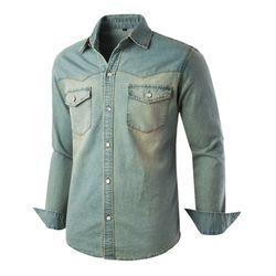 [모니즈] 녹워싱 투포켓 데님셔츠 SHT756