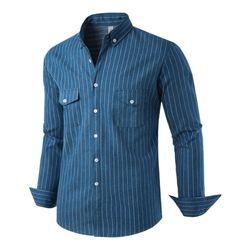 [모니즈] 스트라이프 투포켓 데님셔츠 SHT755