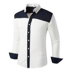 [모니즈] 사선 배색 셔츠 SHT743