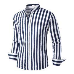 [모니즈] 차이나 베이직 줄지 셔츠 SHT739