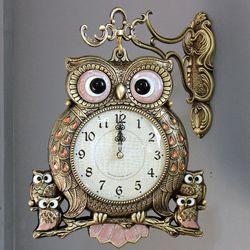 (kspz223)스틸리아 부엉이 양면시계 골드
