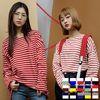2046 15컬러 라운드넥 단가라 티셔츠 (15colors)