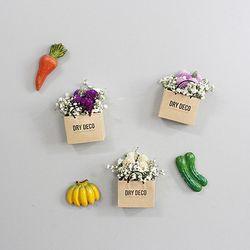 드라이플라워 쇼핑백모양 냉장고자석 (천일홍)