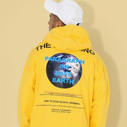지구오염 후드티셔츠 옐로우