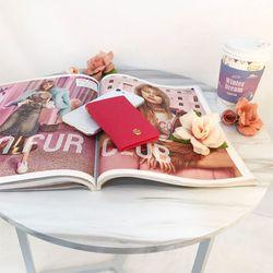 렌토 목걸이 미니슬림카드지갑 핑크