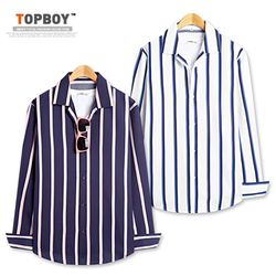 [탑보이] 오픈 투톤 스트라이프 셔츠 (DL514)