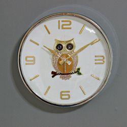 (kpl039)크롬 부엉이 시계 360 (저소음)