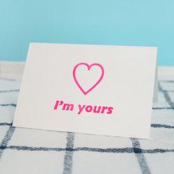 Im yours 아임유어스 네온핑크 레터프레스 카드