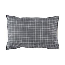 Ikat Check pillow cover - pebble & ivory (50x75cm)
