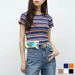 2049 컬러 골지 반팔 티셔츠 (5colors)