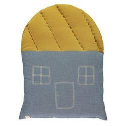 House cushion - mini check blue & ochre
