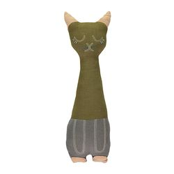 Tall Cat cushion - moss & slate (12x34cm)