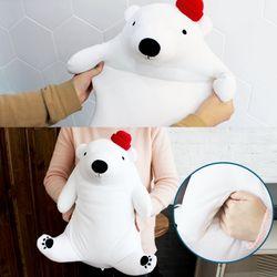 포근한 핸드워머 허그쿠션 베어베어 북극곰 인형