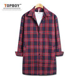 [탑보이] 타탄체크 롱 셔츠 자켓 (JL047)
