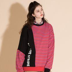 [0226발송] MIX STRIPE SWEAT SHIRT BLACK
