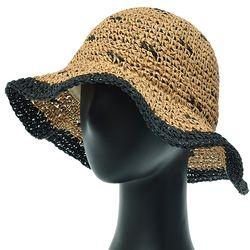 [더그레이]DKP09.밀짚 배색챙 여성 여름 비치 모자