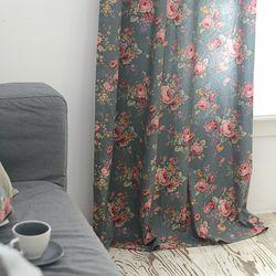 멜로디 블루꽃 커튼 중형 300x230