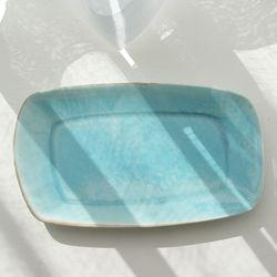 하늘빛 비대칭 직사각 접시(중)