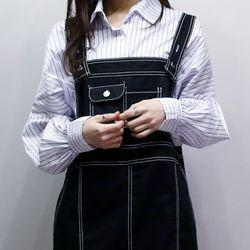 스트라이프 소매 퍼프 셔츠