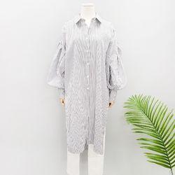 루즈 벌룬소매 스트라이프 롱 셔츠