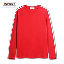 [탑보이] 남녀공용 더블라인 긴팔티셔츠 (SU575)