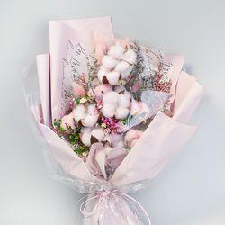 목화 라그라스 꽃다발(핑크)