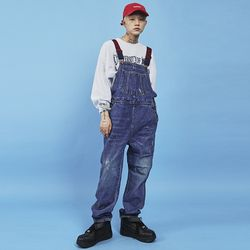 jeans lettering overalls - UNISEX