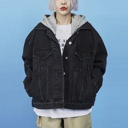 zipper hood denim jacket (2 color)
