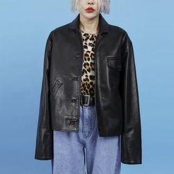 leather crop jacket (2 color)