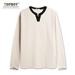 [탑보이] 남녀공용 배색 V라인 긴팔티셔츠 (MD219)