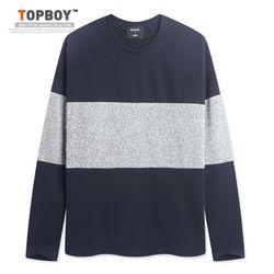 [탑보이] 남성용 기본핏 3D배색 긴팔 티셔츠 (RM082)