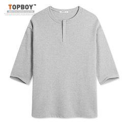 [탑보이] 남성용 오버핏 지퍼넥 7부 티셔츠 (ON085)