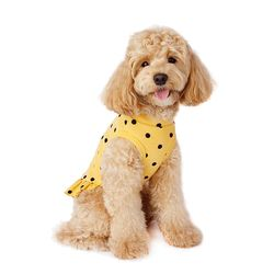 Flocking Dot Dress 후로킹 도트 드레스 Yellow