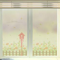 im696-행복이가득봄꽃울타리유리문시트지