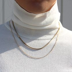 Gold Two Point Chain Necklace 골드 투 체인목걸이