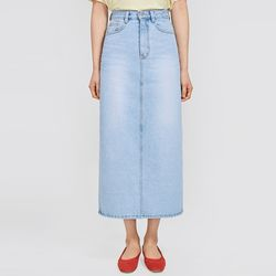 once denim long slit skirt (s m)