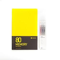 카코 KACO 메모리 노트+퓨어 스틱 젤펜 3색 세트