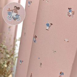화이트 암막 피크닉 핑크 아일렛 150x180